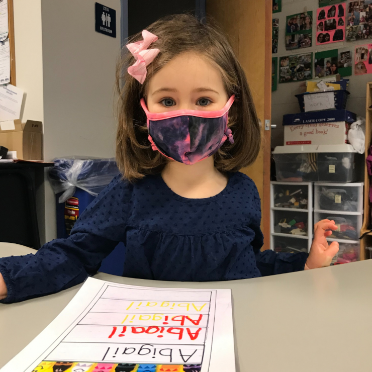 Preschool student in mask